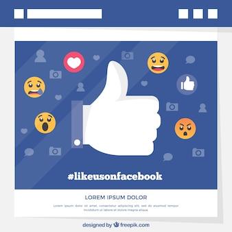 Facebookachtergrond met gelijkaardig pictogram