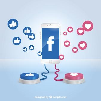 Facebookachtergrond met realistische pictogrammen