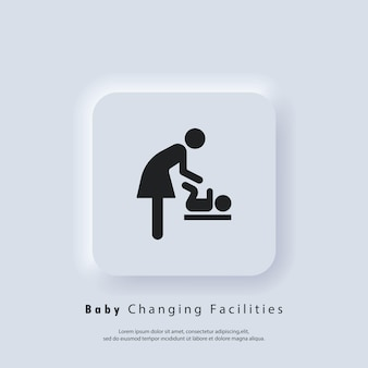 Faciliteiten om baby's te verschonen. toiletruimte voor moeders met kinderen. moeder en kind icoon. teken voor de kleedkamer van de baby. vector eps 10. ui-pictogram. neumorphic ui ux witte gebruikersinterface webknop. neumorfisme