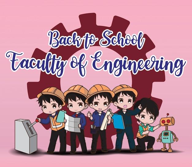 Faculteit ingenieurswetenschappen terug naar school. leuke ingenieur cartoon tekenstijl.