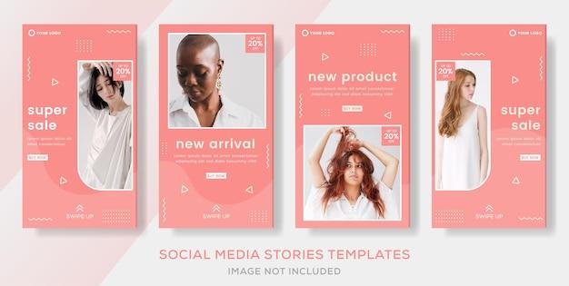 Fahion sale stories bannerpost voor social media instagram feed premium Premium Vector