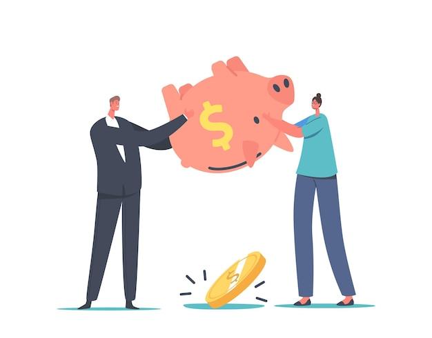 Faillissement, begrotingstekort concept. boos zakenmensen schudden leeg spaarvarken zonder geld binnen. personages in financiële crisis, verkoopdaling, investeringsafname. cartoon vectorillustratie