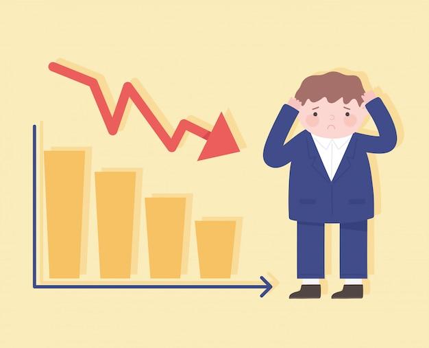 Faillissement man vallen met recessie grafiek bedrijfsproces financiële crisis