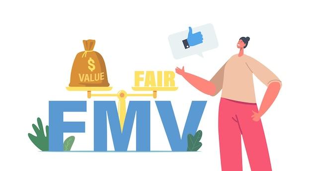 Fair value markt bedrijfsconcept. het kleine zakenvrouwkarakter toont duim omhoog bij enorme fmv-typografie en schalen die een balans van waarde en eerlijk op de markt presenteren. cartoon mensen vectorillustratie