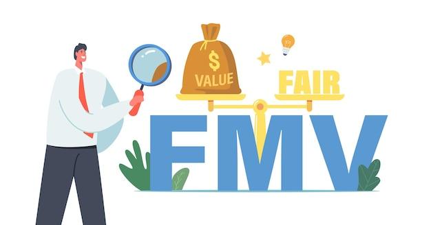 Fair value markt bedrijfsconcept. klein zakenmankarakter met vergrootglas bij enorme fmv-typografie en schalen die waardebalans en eerlijk presenteren. cartoon mensen vectorillustratie