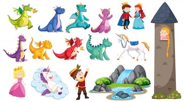 Fairtale set met draken en prinses in de toren