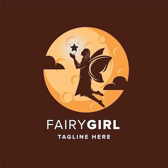 Fairy girl catching star logo ontwerpsjabloon