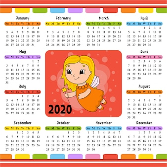 Fairy jong meisje in een jurk met vleugels en een toverstaf. kalender voor 2020 met een schattig karakter.