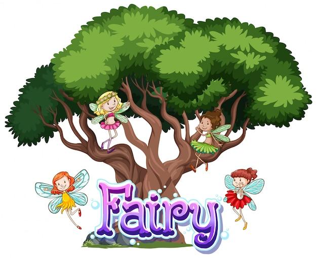 Fairy logo met kleine feeën op witte achtergrond