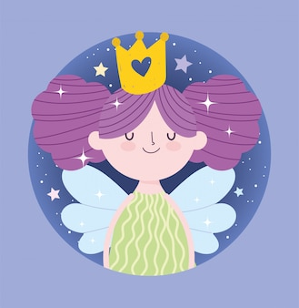 Fairy prinsesje met vleugels en gouden kroon verhaal cartoon