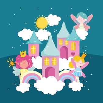 Fairy schattige regenbogen wolken magie