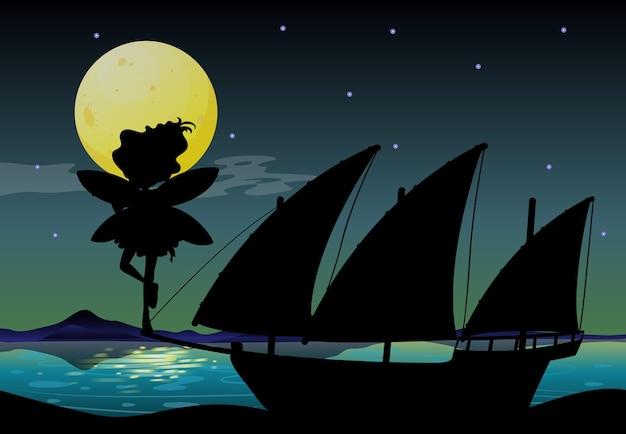 Fairy silhouet in de natuur achtergrond