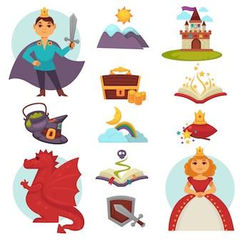 Fairy tail helden en attributen kleurrijke collectie op wit