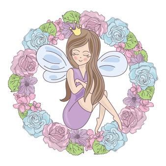 Fairy wreath illustratie set bruiloft