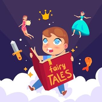 Fairytale concept met kind lezen