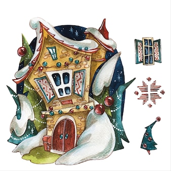 Fairytale house christmas verhaal items hand getekende aquarel illustraties instellen nieuwjaar boom en decoraties op witte achtergrond