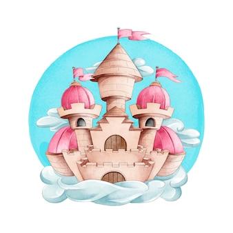 Fairytale kasteel aquarel stijl