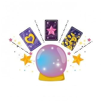 Fairytale kristallen bol met fortuinkaarten