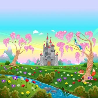 Fairytale landschap met kasteel cartoon vector illustratie