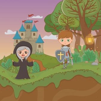 Fairytale landschapsscène met heks en strijder
