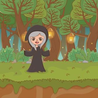 Fairytale landschapsscène met heks