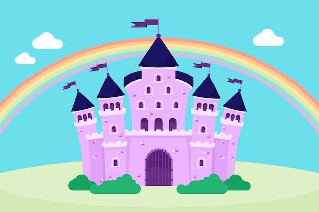 Fairytale magische kasteelregenboog