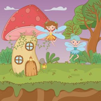 Fairytale scène met feeën vliegen