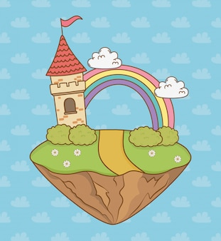 Fairytalekasteel met regenboog in de veldscène