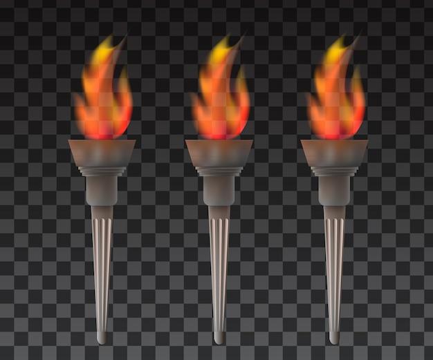 Fakkel met vlam vector.