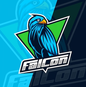 Falcon mascotte esport logo ontwerp