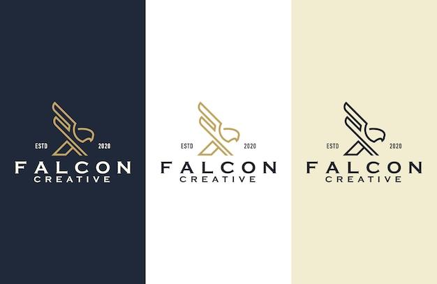 Falcon overzicht logo ontwerp illustratie