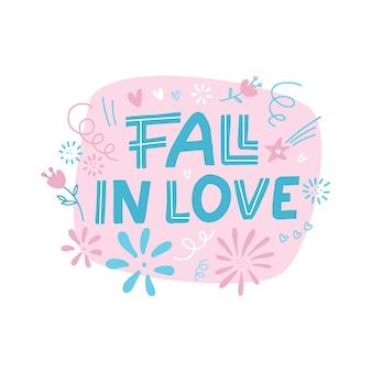 Fall in love doodle scandinavische belettering kaartsjabloon.