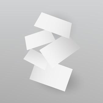 Fallende realistische visitekaartjes sjabloon. vector illustratie
