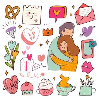 Falling in love paar verwant object kawaii doodle set