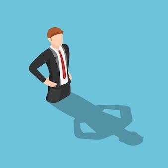 Falt 3d isometrische zakenman verdrinken in zijn schaduw. bedrijfsmislukking en egoconcept.