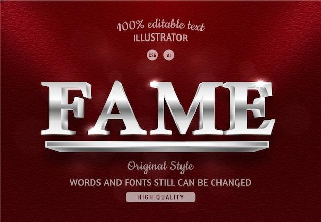 Fame tekst zilveren kleur met verloop.
