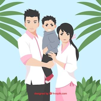 Familie achtergrond in mangastijl