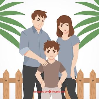 Familie achtergrond met een zoon in mangastijl