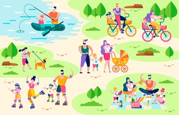 Familie actieve buiten vrijetijdsbesteding platte vector concept