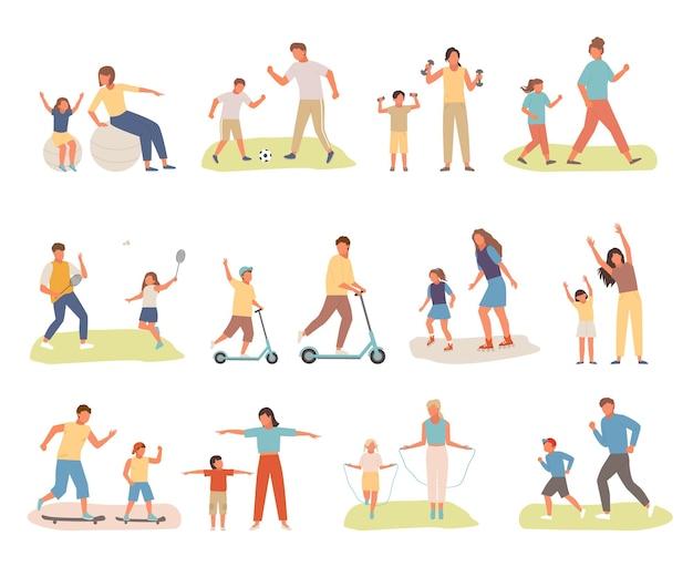 Familie actieve sport illustratie
