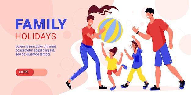 Familie actieve vakantie horizontale banner afbeelding