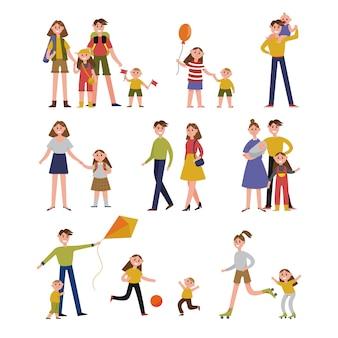 Familie-activiteit en vrije tijd. familie set kleurrijke personages met illustraties van ouders en kinderen