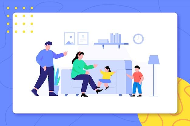 Familie-activiteit in de woonkamer ontwerpt samen illustratie