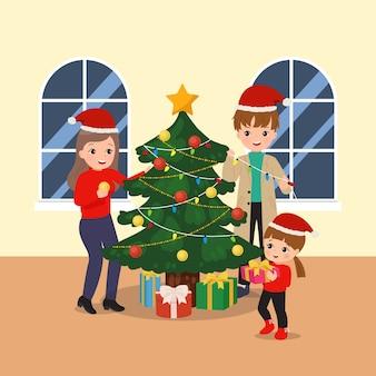 Familie activiteit traditie om samen kerstboom te versieren. blijf thuis activiteit. kerstmuts.