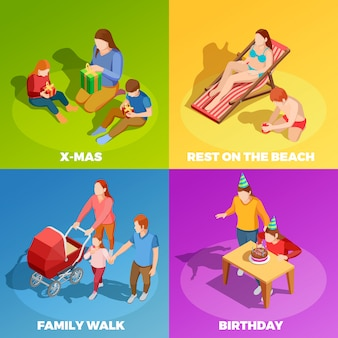 Familie-activiteiten 4 isometrische pictogrammen vierkant