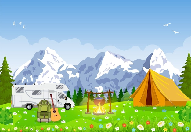 Familie adventure camping avondscène.