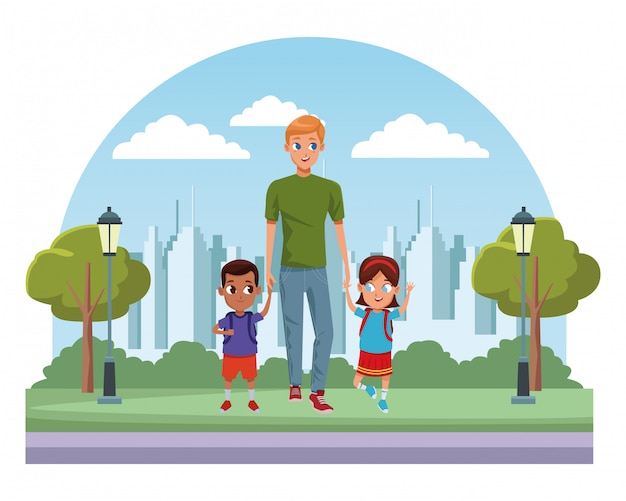 Familie alleenstaande vader met kinderen