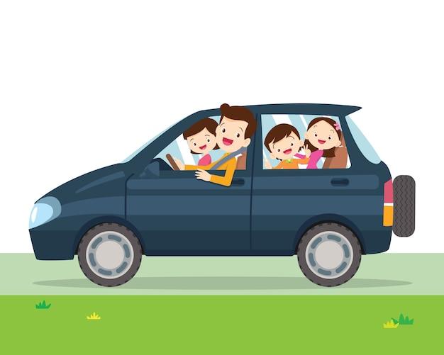 Familie auto vereenvoudigde illustratie van een voertuig