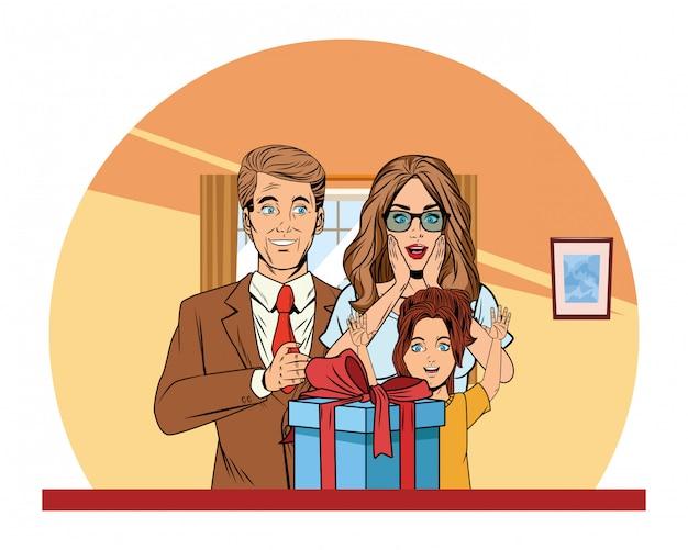 Familie avatar met cadeau vak popart