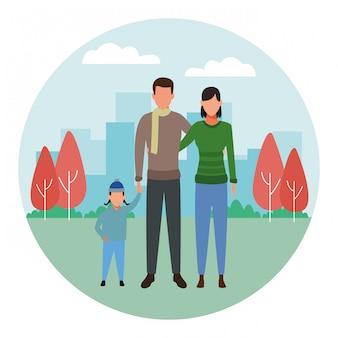 Familie avatar stripfiguur ronde pictogram ronde pictogram